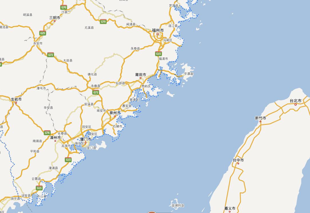 看看地图就知道了,厦门福州平潭漳州(海峡西岸)