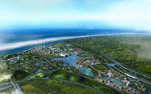 中华企业于2001年在上海崇明岛陈家镇获得4655亩土地, 是较早进入崇明