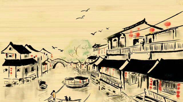 漂亮,大方,手绘时光密码×壹城壹迹水墨水乡竹纸明信片, 《一城一迹》