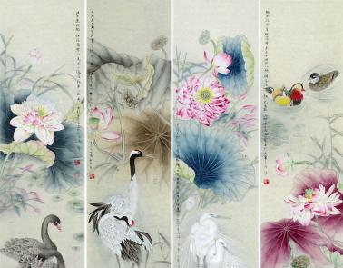 王一容老师这幅四条屏中中画有荷花分别于鸭,仙鹤,白鹭,鸳鸯等传统吉