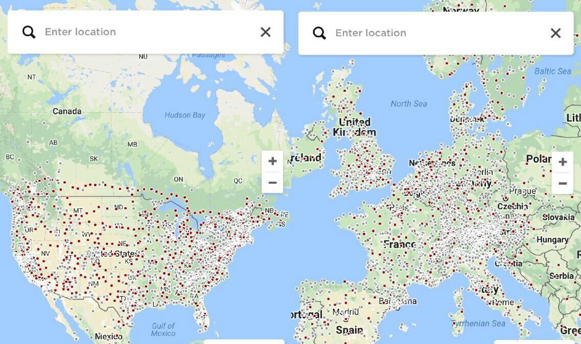 特斯拉在欧洲美国新建和准备建的超级充电站地图,电动图片